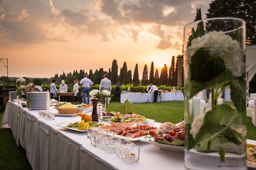 wedding dinner reception buffet in Tuscany