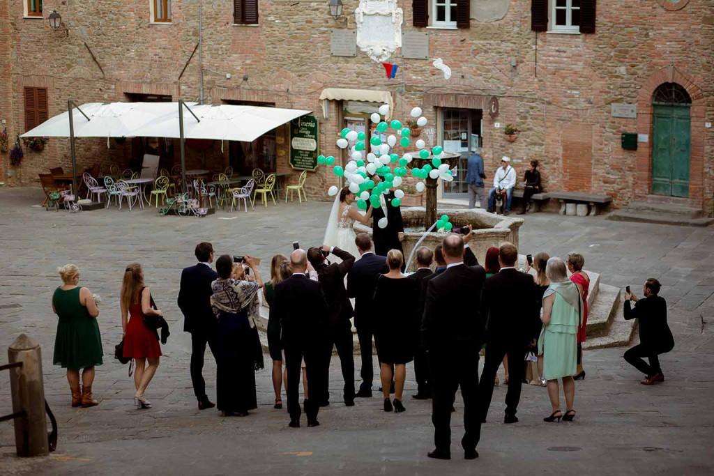 Wedding party in Umbria after civil ceremony