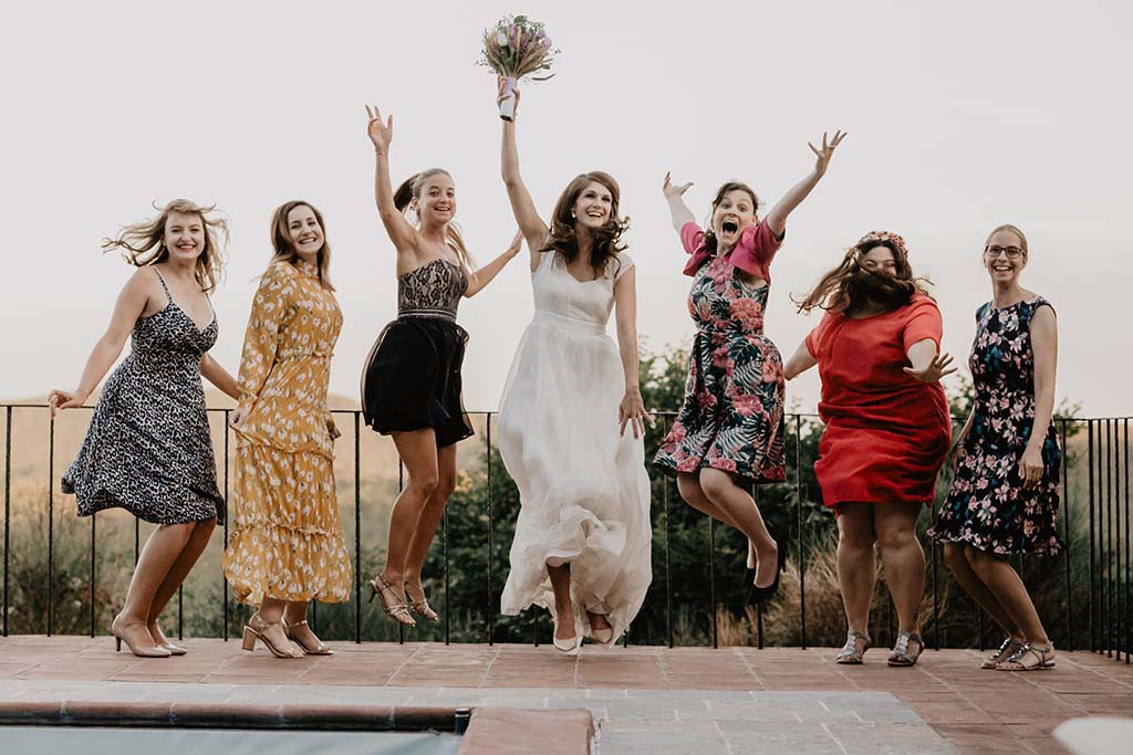 Bride and bridesmaids in Tuscany