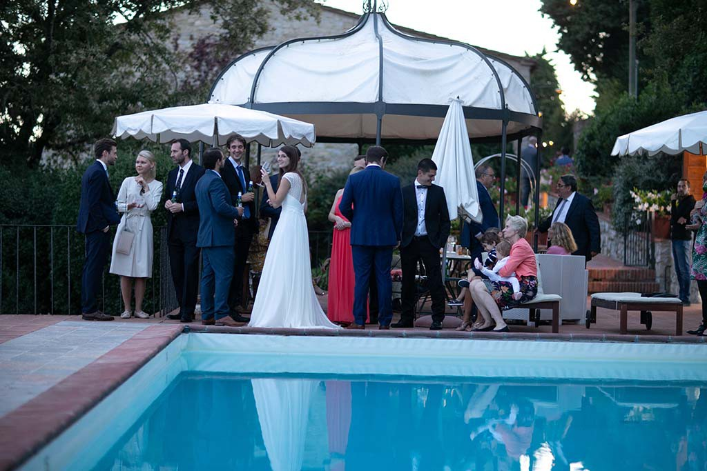 Wedding reception on the pool