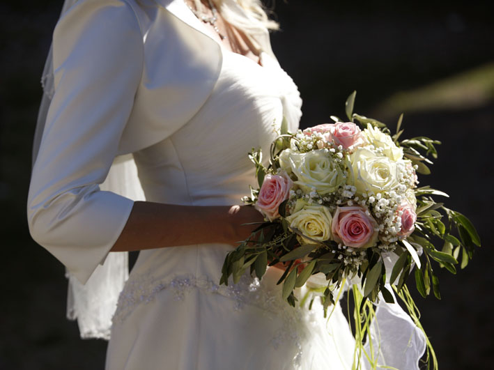 Bridal Bouquet with Olive Branches and Roses