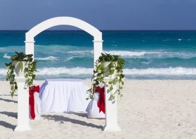 Beautiful wedding decoration on the beach