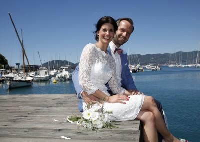 Bridal couple on the Italian riviera
