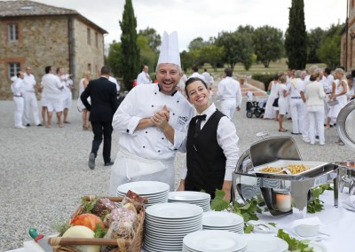 Catering service at a wedding in Italy