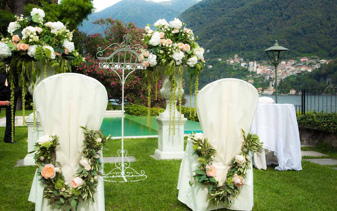 Set up for Wedding Ceremony on Lake Como